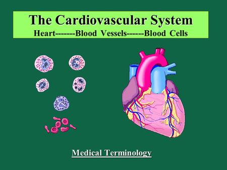 The Cardiovascular System The Cardiovascular System Heart-------Blood Vessels------Blood Cells Medical Terminology.