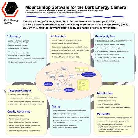 Mountaintop Software for the Dark Energy Camera Jon Thaler 1, T. Abbott 2, I. Karliner 1, T. Qian 1, K. Honscheid 3, W. Merritt 4, L. Buckley-Geer 4 1.