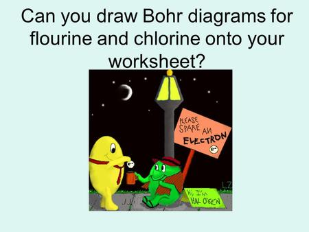 Can you draw Bohr diagrams for flourine and chlorine onto your worksheet?