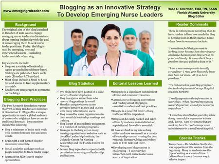 Blogging as an Innovative Strategy To Develop Emerging Nurse Leaders Background Blogging Best Practices Editorial Lessons Learned Reader Comments Special.