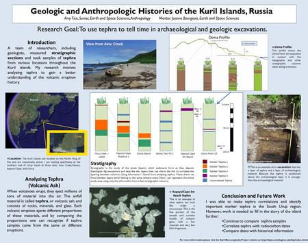 Geologic and Anthropologic Histories of the Kuril Islands, Russia Amy Tice, Senior, Earth and Space Sciences, AnthropologyMentor: Joanne Bourgeois, Earth.