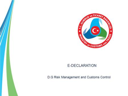 E-DECLARATION D.G Risk Management and Customs Control.