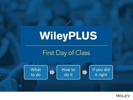 What is WileyPLUS? Complete e-text Study and practice tools Assessment.