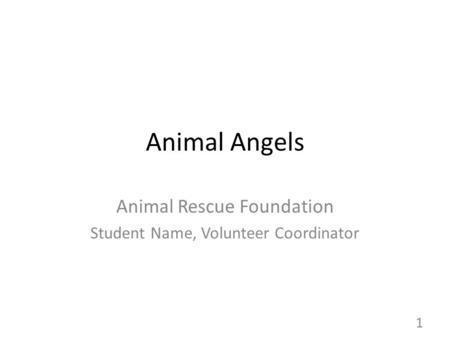 Animal Angels Animal Rescue Foundation Student Name, Volunteer Coordinator 1.