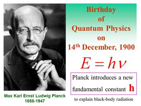 Birthday of Quantum Physics on 14 th December, 1900 Max Karl Ernst Ludwig Planck 1858-1947 Planck introduces a new fundamental constant h to explain black-body.