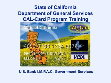 Department of General Services CAL-Card Program Training