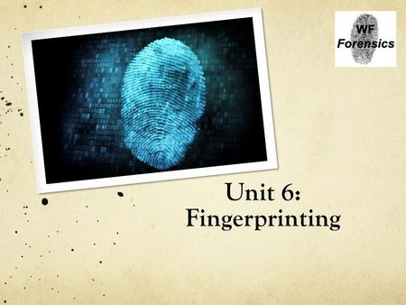 Unit 6: Fingerprinting. Intro to identification Every individual, including identical twins, has a unique fingerprint Type of Evidence: Fingerprints.