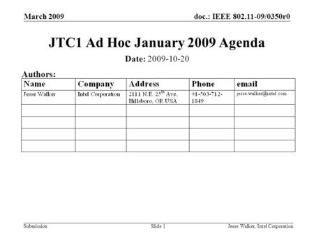 Doc.: IEEE 802.11-09/0350r0 Submission March 2009 Jesse Walker, Intel CorporationSlide 1 JTC1 Ad Hoc January 2009 Agenda Date: 2009-10-20 Authors: