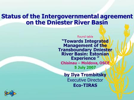 "Status of the Intergovernmental agreement on the Dniester River Basin Round table ""Towards Integrated Management of the Transboundary Dniester River Basin:"