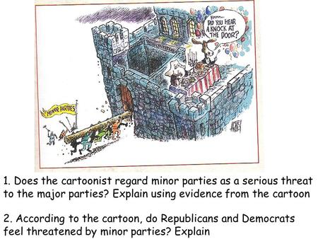 1. Does the cartoonist regard minor parties as a serious threat to the major parties? Explain using evidence from the cartoon 2. According to the cartoon,