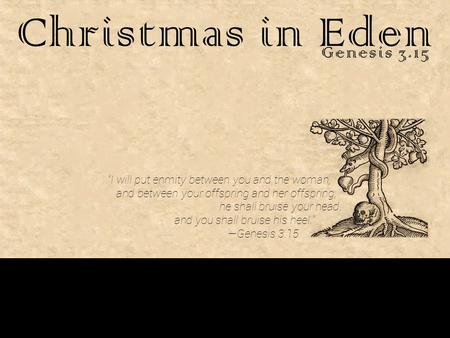 "Christmas in Eden Genesis 3.15 ""I will put enmity between you and the woman, and between your offspring and her offspring; he shall bruise your head, and."
