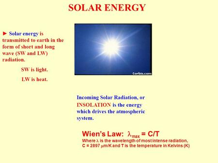 SOLAR ENERGY ► Solar energy is transmitted to earth in the form of short and long wave (SW and LW) radiation. SW is light. LW is heat. Incoming Solar Radiation,