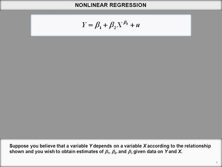 1 NONLINEAR REGRESSION Suppose you believe that a variable Y depends on a variable X according to the relationship shown and you wish to obtain estimates.