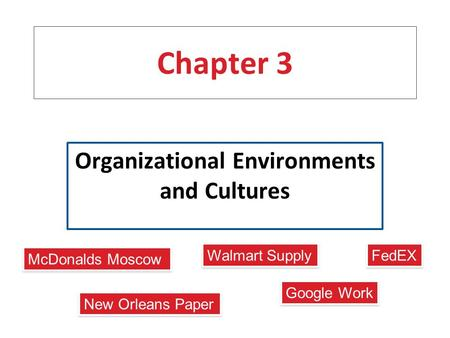 Chapter 3 Organizational Environments and Cultures New Orleans Paper Google Work Walmart Supply FedEX McDonalds Moscow.