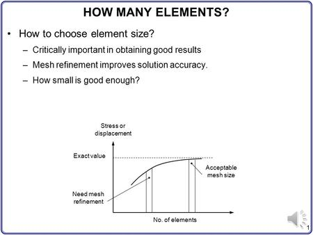 1 HOW MANY ELEMENTS? How to choose element size? –Critically important in obtaining good results –Mesh refinement improves solution accuracy. –How small.