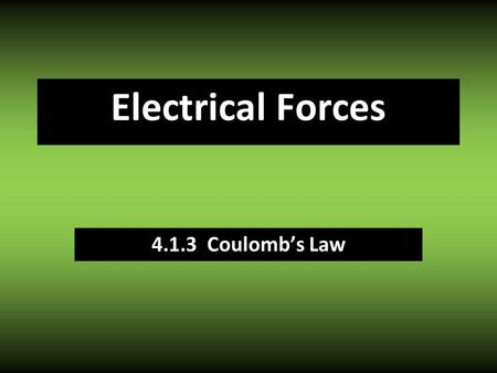 Electrical Forces 4.1.3 Coulomb's Law. Same charges REPEL + + Opposite charges ATTRACT + - Electrostatic Force.