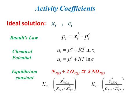 Activity Coefficients Ideal solution: x i, c i Raoult's Law Chemical Potential Equilibrium constant N 2(g) + 2 O 2(g)  2 NO 2(g)