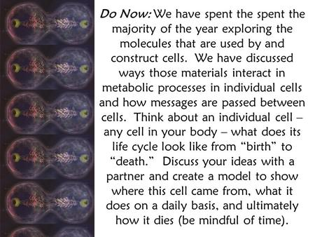 Do Now: We have spent the spent the majority of the year exploring the molecules that are used by and construct cells. We have discussed ways those materials.