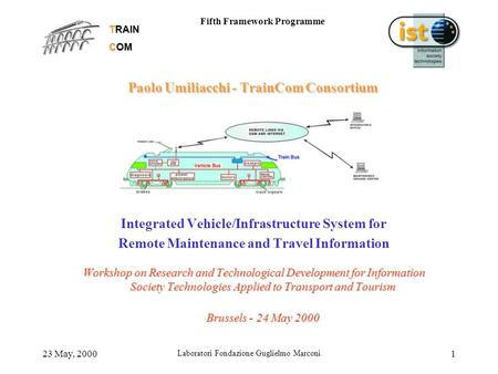 TRAIN COM Fifth Framework Programme 23 May, 2000 Laboratori Fondazione Guglielmo Marconi 1 Paolo Umiliacchi - TrainCom Consortium Integrated Vehicle/Infrastructure.