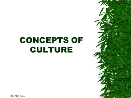 CONCEPTS OF CULTURE FLW EO Office. 2 Overview  Define culture, subculture, and enculturation  Discuss attributes and non-attributes of culture  Discuss.