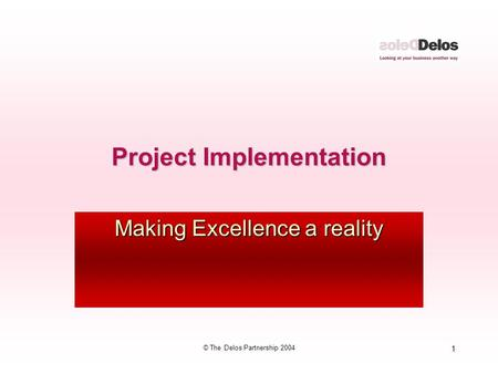 1 © The Delos Partnership 2004 Project Implementation Making Excellence a reality.
