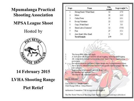Mpumalanga Practical Shooting Association MPSA League Shoot Hosted by 14 February 2015 LVHA Shooting Range Piet Retief 1.The latest IPSC rules will apply.