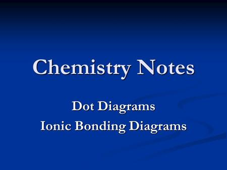 Chemistry Notes Dot Diagrams Ionic Bonding Diagrams.
