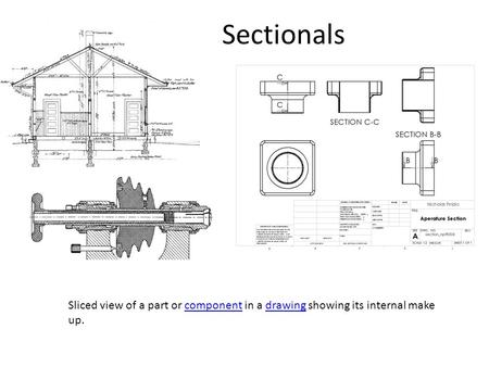 Sectionals Sliced view of a part or component in a drawing showing its internal make up.componentdrawing.