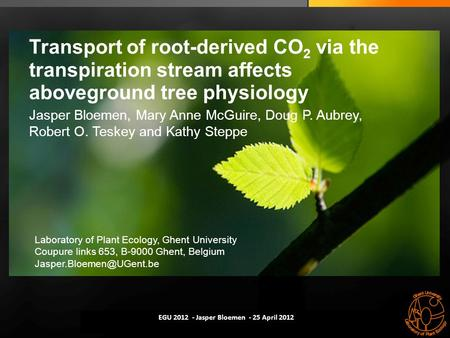 Modelling xylem-phloem flow coupling ▪ Kathy Steppe ▪ 11 October 2011 Transport of root-derived CO 2 via the transpiration stream affects aboveground tree.