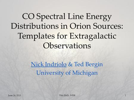 CO Spectral Line Energy Distributions in Orion Sources: Templates for Extragalactic Observations Nick Indriolo & Ted Bergin University of Michigan June.