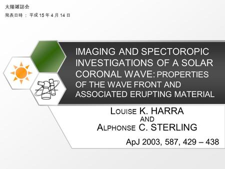 IMAGING AND SPECTOROPIC INVESTIGATIONS OF A SOLAR CORONAL WAVE: PROPERTIES OF THE WAVE FRONT AND ASSOCIATED ERUPTING MATERIAL L OUISE K. HARRA AND A LPHONSE.