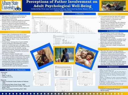 Perceptions of Father Involvement on Adult Psychological Well-Being Adult Psychological Well-Being Conducted by Olivia Lane and Shakeria Burney; Supervised.