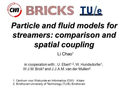 Particle and fluid models for streamers: comparison and spatial coupling Li Chao 1 in cooperation with:, U. Ebert 1,2, W. Hundsdorfer 1, W.J.M. Brok 2.
