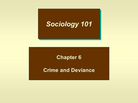 Sociology 101 Chapter 6 Crime and Deviance. Deviance u This is behavior that departs from social norms; –a.Nudist Colony –b.Obesity –c.Body Piercing u.