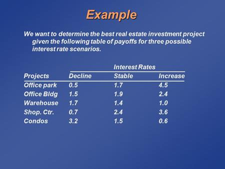 Example We want to determine the best real estate investment project given the following table of payoffs for three possible interest rate scenarios. Interest.