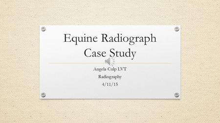 Equine Radiograph Case Study Angela Culp LVT Radiography 4/11/15.