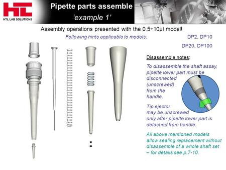 Disassemble notes: To disassemble the shaft assay, pipette lower part must be disconnected (unscrewed) from the handle. Tip ejector may be unscrewed only.