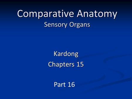 Kardong comparative anatomy