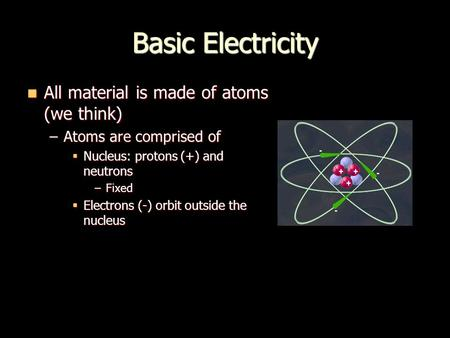 Basic Electricity All material is made of atoms (we think) All material is made of atoms (we think) –Atoms are comprised of  Nucleus: protons (+) and.