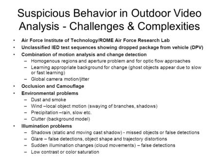 Suspicious Behavior in Outdoor Video Analysis - Challenges & Complexities Air Force Institute of Technology/ROME Air Force Research Lab Unclassified IED.