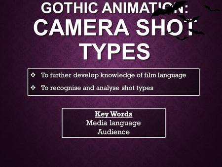 GOTHIC ANIMATION: CAMERA SHOT TYPES  To further develop knowledge of film language  To recognise and analyse shot types Key Words Media language Audience.