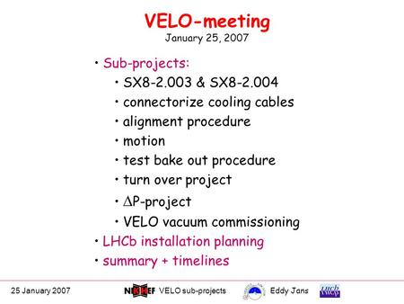 25 January 2007VELO sub-projectsEddy Jans 0 VELO-meeting January 25, 2007 Sub-projects: SX8-2.003 & SX8-2.004 connectorize cooling cables alignment procedure.