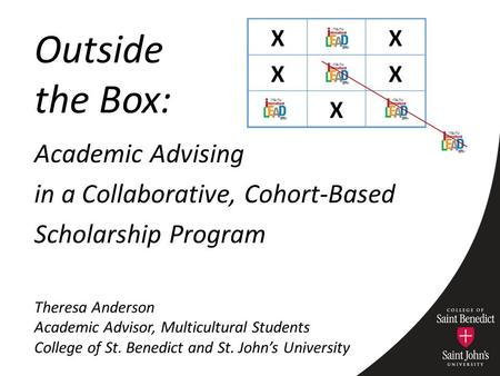 Academic Advising in a Collaborative, Cohort-Based Scholarship Program Theresa Anderson Academic Advisor, Multicultural Students College of St. Benedict.
