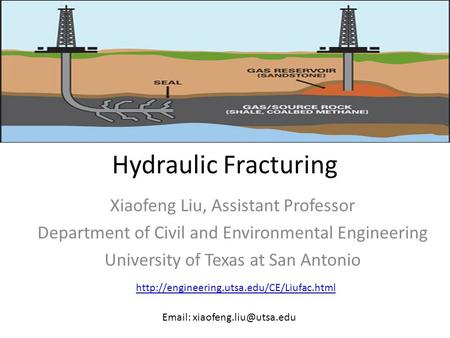 Hydraulic Fracturing Xiaofeng Liu, Assistant Professor Department of Civil and Environmental Engineering University of Texas at San Antonio