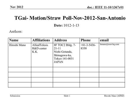 Submission doc.: IEEE 11-10/1367r01 Nov 2012 Hiroshi Mano (ATRD)Slide 1 TGai- Motion/Straw Poll-Nov-2012-San-Antonio Date: 1012-1-13 Authors: