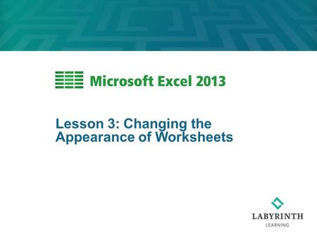 Lesson 3: Changing the Appearance of Worksheets. 2 Learning Objectives After studying this lesson, you will be able to:  Change the view of an Excel.
