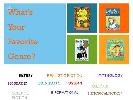 + What's Your Favorite Genre? HISTORICAL FICTION FANTASY MYSTERY SCIENCE FICTION INFORMATIONAL MYTHOLOGY REALISTIC FICTION BIOGRAPHY DRAMA TALL TALE.
