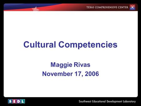 1 Cultural Competencies Maggie Rivas November 17, 2006.