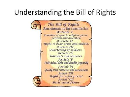 Understanding the Bill of Rights. A) No Unreasonable Search and Seizure Which Amendment? 4th Explanation: This best fits the 4 th Amendment because the.