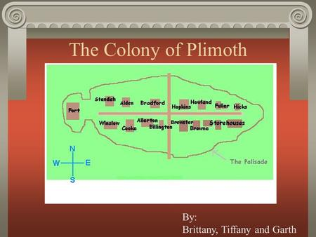 The Colony of Plimoth By: Brittany, Tiffany and Garth.